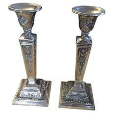 Art Nouveau Silver Plated Candlesticks