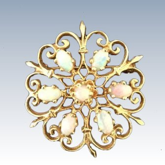 Vintage Solid 14K Yellow Gold Natural Opal Flower Brooch Pin Pendant