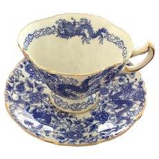 Hammersley Pekin Blue Dragon Made in England Bone China Cup & Saucer