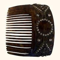 Antique Tortoise Shell & Rhinestone Victorian Hair Comb