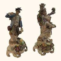 """Sitzendorf Antique 14"""" figurines 19th century"""
