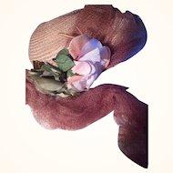 Beautiful Antique Straw Bonnet w/Gorgeous Pale Pink Roses Circa 1910