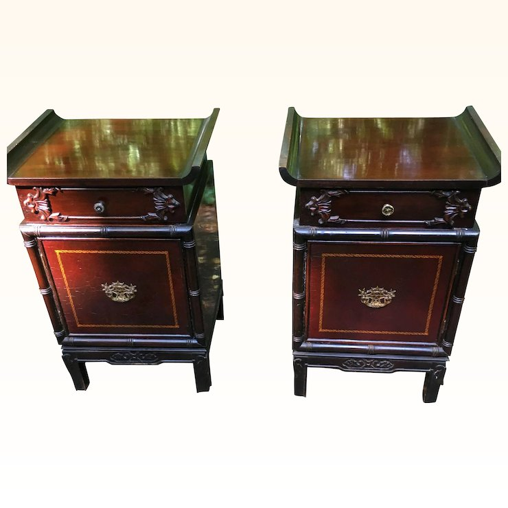 Pair Of American Antique Tables From Exclusively Yours Big Rapids Furniture Company Mahogany Circa