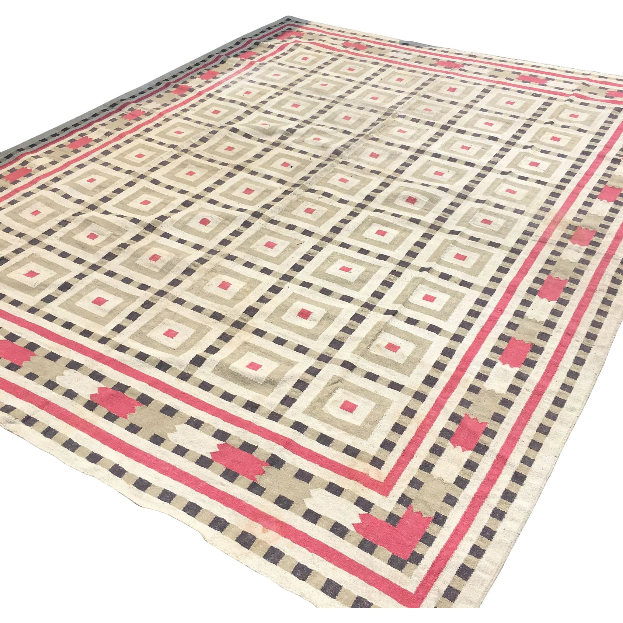Vintage Indian Cotton Dhurrie Rug Absolutely Gorgeous 8 X10 Sold Ruby Lane