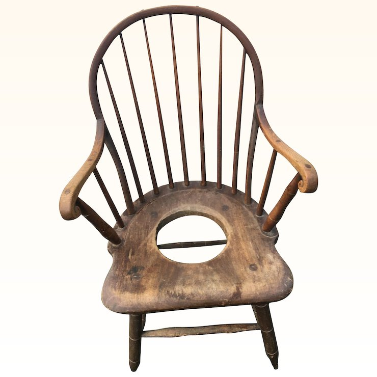 Original Early American Windsor Antique Potty Chair - Original Early American Windsor Antique Potty Chair : David