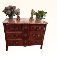 Louis XVI Style Chest of Drawers Magnificent Ormolu Blood Red orig. Marble!