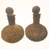 Set of TWO Vintage Hob Nail Perfume bottles