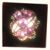 Magnificent Amethyst,Emerald, Diamond, 14kGold, Ring Breathtaking! Size 6..5-7!