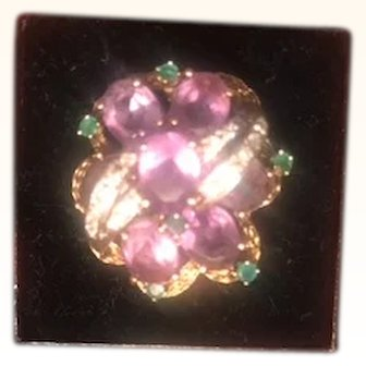 Magnificent Amethyst,Emerald, Diamond, 14kGold, Ring Breathtaking! Size 6..5-7!