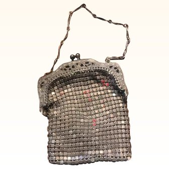 "Antique Mesh Silver Doll Pocketbook 3"" x 2"" Adorable!"