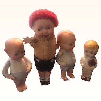 Four All Bisque Antique Dolls!