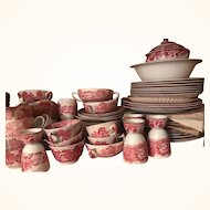 85 Pcs Pink & White Enoch Woods Pottery England Circa 1883