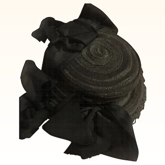 Antique black mourning hat for antique doll all original!