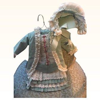 "Vintage Antique Doll Dress & Bonnet Pale Green French Laces Pink rosebuds 17"" long"