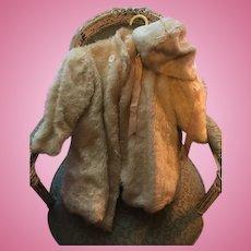 "Antique Fake fur coat & bonnet for large antique doll 22"" long Ivory"