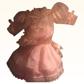 """Vintage Pink Silk Doll Dress & Hat Absolutely Gorgeous! Dress 11"""" long"""
