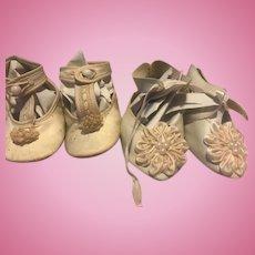2 Pr of Doll Shoes 1 Antique & 1 Vintage Repo's GC