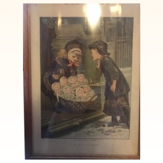M.E. Edwards Antique print of Christmas buggy of dolls