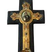 Antique Wooden Cross w/Holy Water Font & Porcelain Plaque