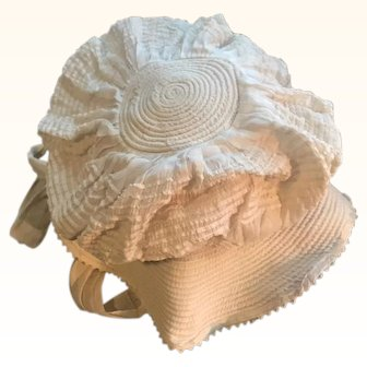 Beautiful antique circa 1890 baby bonnet for toddler gorgeous white work
