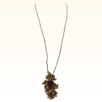 "16"" Vintage Middleeastern Necklace Pendant Red Garnet w/ seed pearls 14k"