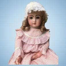 """Beautiful Antique Brown Eyed Tete Jumeau 27"""" Closed Mouth-Partially restored Head"""