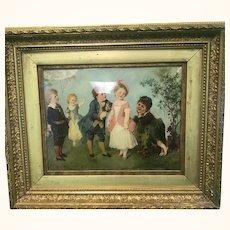 Reverse Painting Framed Regency Period