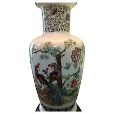 Vintage Beautiful Oriental Chinese Porcelain Lamp w/ Peacocks, flowers