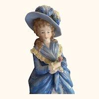 Antique German figurine porcelain lady in blue