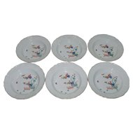 Six Meissen Kakiemon Porcelain Soup Bowls with Basketweave Rim and Gilt Highlights 19th c.