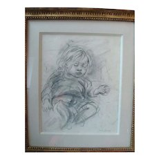 Pencil Drawing by Marion Greenwood Presented in a Carved Gilt Wood Frame