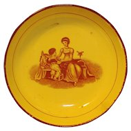 Antique Early 19th century Pearlware Bowl Featuring a Classical Scene of Mother & Child at Play by Adam Buck 1810