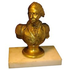 Antique 19th century French Empire Gilt Bronze Bust of General George Washington