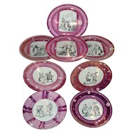 Set 8 Antique 19th century English Victorian Staffordshire Pink Luster Pearlware Dinner Plates