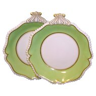 Antique Pair Early 19th century English Regency Flight & Barr Worcester Porcelain Dessert Dishes