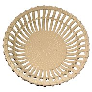 Large Antique 19th century English Creamware Basketweave Centerpiece Fruit Bowl