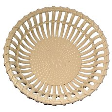 Large Antique 19th century English Creamware Basketweave Centerpiece Fruit Bowl