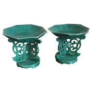 Pair Antique 19th century Chinese Export Monochrome Turquoise Porcelain Altar Temple Tazza for Fruit