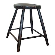 Antique American Federal Paint Decorated Windsor Stool with Bamboo Turnings 19th c.
