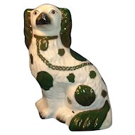 Antique 19th century English Staffordshire Pearlware Spaniel Dog 1840 Rare Green Glaze
