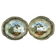 Antique Pair 18th century Bilston Battersea Enamel Reticulated Baskets Trays