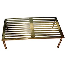 Large Scale Antique 19th century Polished Brass Footman or Hearth Trivet for the Fireplace