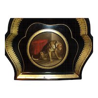 Antique 19th century Victorian Tole Dish Hand Painted Dog Portrait