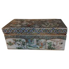 Antique Early 19th century Chinese Export Famille Rose Mandarin Porcelain Desk Letter Box