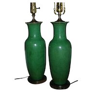Pair Antique 19th century Chinese Monochrome Porcelain Green Baluster Shaped Vases as Lamps