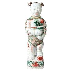 Antique 17th century Chinese Kangxi Porcelain Ho Ho Boy Figure in Wucai Glaze