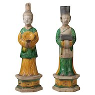 Antique Pair Chinese Glazed Pottery Tomb Figures of Officials or Attendants Ming Dynasty
