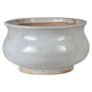 18th century Chinese Monochrome White Glazed Bombe Shape Pottery Censer Bowl