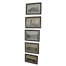 Antique Set 5 18th century George III Prints Views of London in Original Hogarth Picture Frames