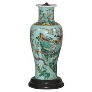 Tall Chinese Porcelain Baluster Shaped Vase in Famille Vert Glaze - 19th century